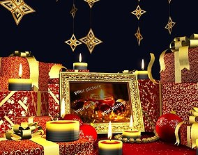 3D asset Christmas scene with a bunch of presents in a 2