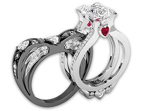 Round Cut Ring Enhancer and Heart Angel 3D print model 4