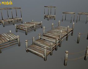 Wooden Pier Set 3D model