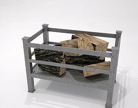 3D asset fire grate with logs