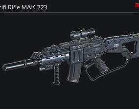 3D model game-ready Scifi Assault Rifle MAK 223
