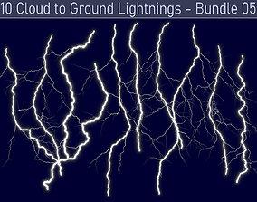 Realistic Lightnings Bundle 05 - 10 pack CG 3D