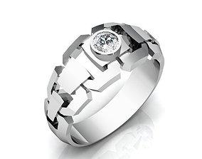 Silver Massive Ring with Diamond BK408 3D print model