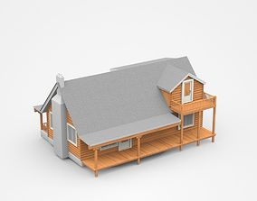 3D Wooden House With Veranda And Balcony