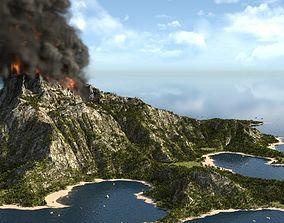 Volcano island in Blender 3D model