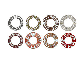Meandre Greek key pattern circles 3D printable model