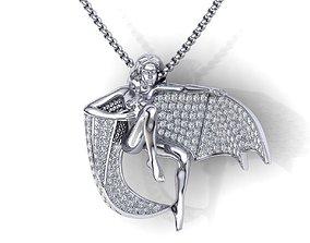 Girl Diamond Pendant with wings printable