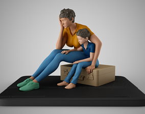 3D print model Mother and Her Child Stay on the Road
