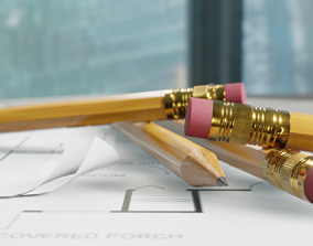 3D model pencils with textures