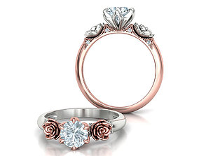 Flower Engagement Ring 1ct Stone Own design 3dmodel