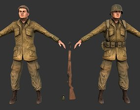 3D asset Military WW2 Soldier Game Ready