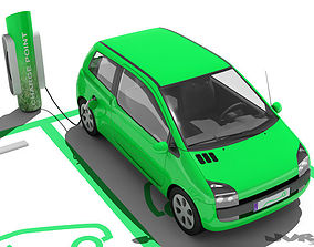 3D model Electric Car and Charging Post