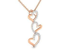 Women heart pendant 3dm stl render detail long-pendant