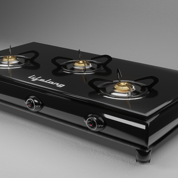Gas Stove with 3 burners low poly 3d model