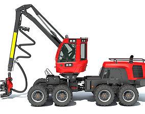 Forestry Wheeled Harvester 3D