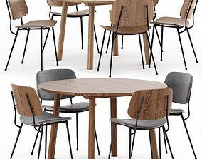 3D Chair Soborg Steel Base and Taro Table by Fredericia