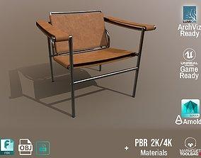 Chair Thonet Le Corbusier PBR - Light Leather - 3D asset 1