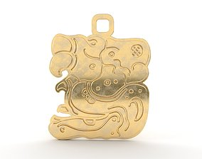 3D printable model Mayan native glyph pendant 07