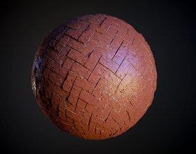 3D Herringbone Stone Pavers Damaged Seamless PBR Texture