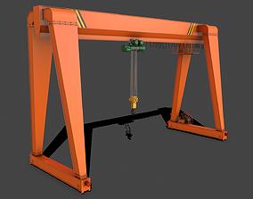 PBR Single Girder Gantry Crane V2 - Orange 3D model