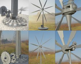 3D Steampunk Windturbine High-Poly Version