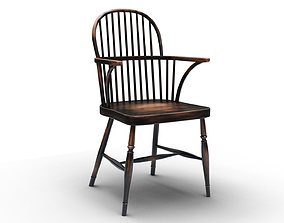 3D model classic Wood spindle-back side chair
