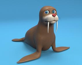 3D asset cartoon walrus