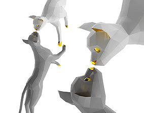 3D OXYGAMI Low poly cats sculpture