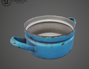 Rusty Blue Pot 3D model