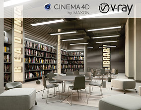bookstore VRay - C4D Scene files - Library 3D