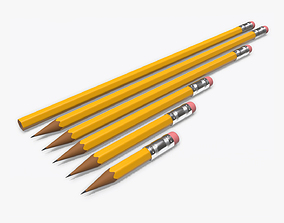 Pencils with rubber various sizes 3D model