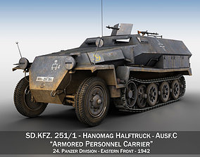 3D SDKFZ 251 1 - Ausf C - Half-track - 24PD