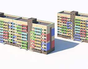 3D Two eight-story residential city buildings