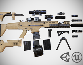 3D model FN SCAR - H - 25 Attachments - Customizable - 1