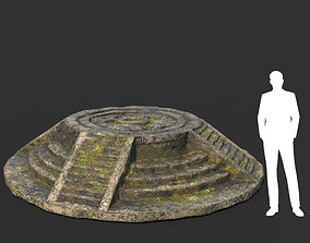 3D asset Low poly Mossy Ruin Temple Element 10 190403