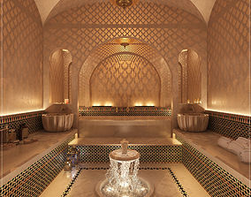 3D Moroccan Hammam Spa arabic bathroom