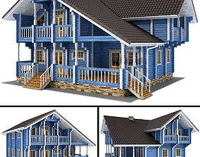 Log house - rounded log tile 3D model
