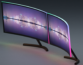 dual gaming monitors with RGB lights 3D