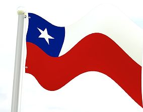 Chile flag 3D asset