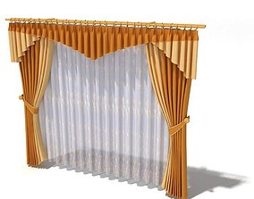 3D Curtains Gold Drapery