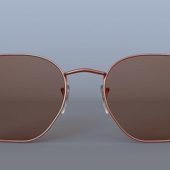 My new work Sunglasses Ray-Ban Hexagonal Flat Lenses Bronze RB3548N 3D model