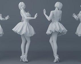 Pretty girl wearing a dress 002 3D printable model