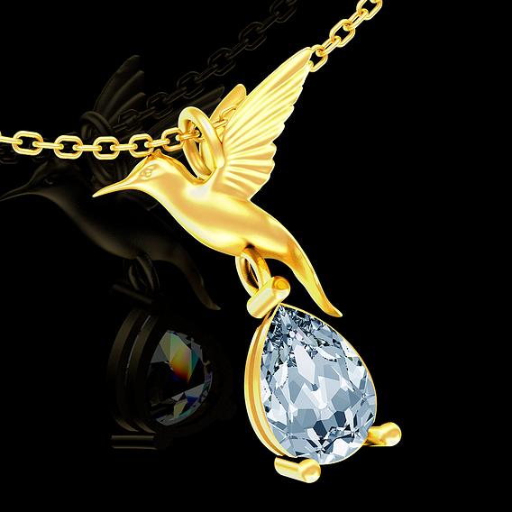 Hummingbird pendant jewelry gold necklace medallion Diamond V1 3D print model