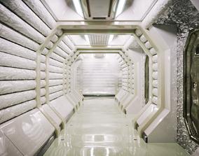 Sci Fi Corridor White Room 3D model realtime