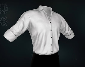 3D asset White Suit Shirt Rolled Sleeve