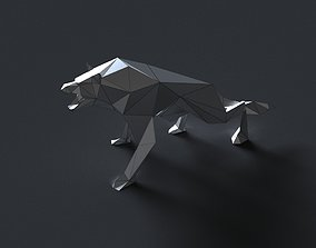 VR / AR ready low-poly 3D printer model wolf