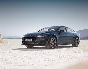Modern luxury sedan unbranded 3D