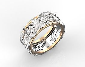 Ring with floral ornament 3 3D printable model