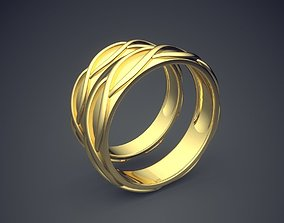 Classic Golden Wedding Ring With 3D printable model 1