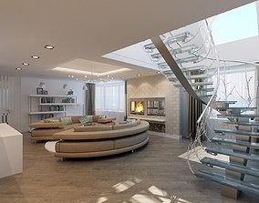 modern penthouse apartments interior 3D